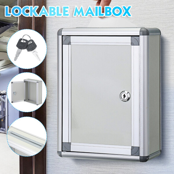 Aluminum Mail Letter Post Storage Box Outdoor Lockable Mailboxes Wall Mounted