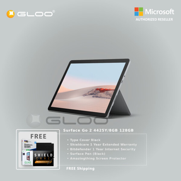 Microsoft Surface Go 2 4425Y/8GB 128GB + Surface Go Type Cover [Choose Color] + Shieldcare 1 Year Extended Warranty + Bitdefender 1 Year Internet Security + Pen [Choose Color] + Amazingthing Screen Protector Malaysia