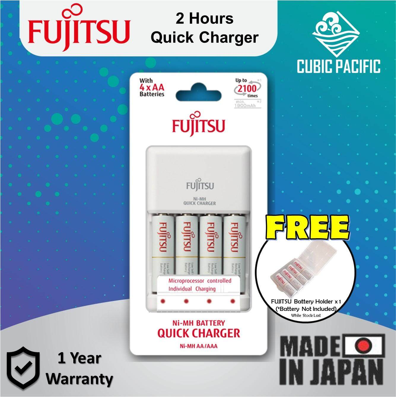Fujitsu 2 Hour Quick Charger 4 Cells Standard AA Rechargeable Battery 2000mAh (Free Battery Holder) Malaysia