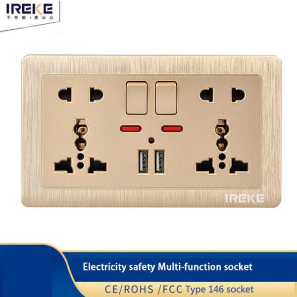 Bảng giá Ổ Cắm Điện Gắn Tường Loại 146 Cổng Sạc USB Kép 5 Lỗ Thông Dụng Bảng Màu Vàng Trắng