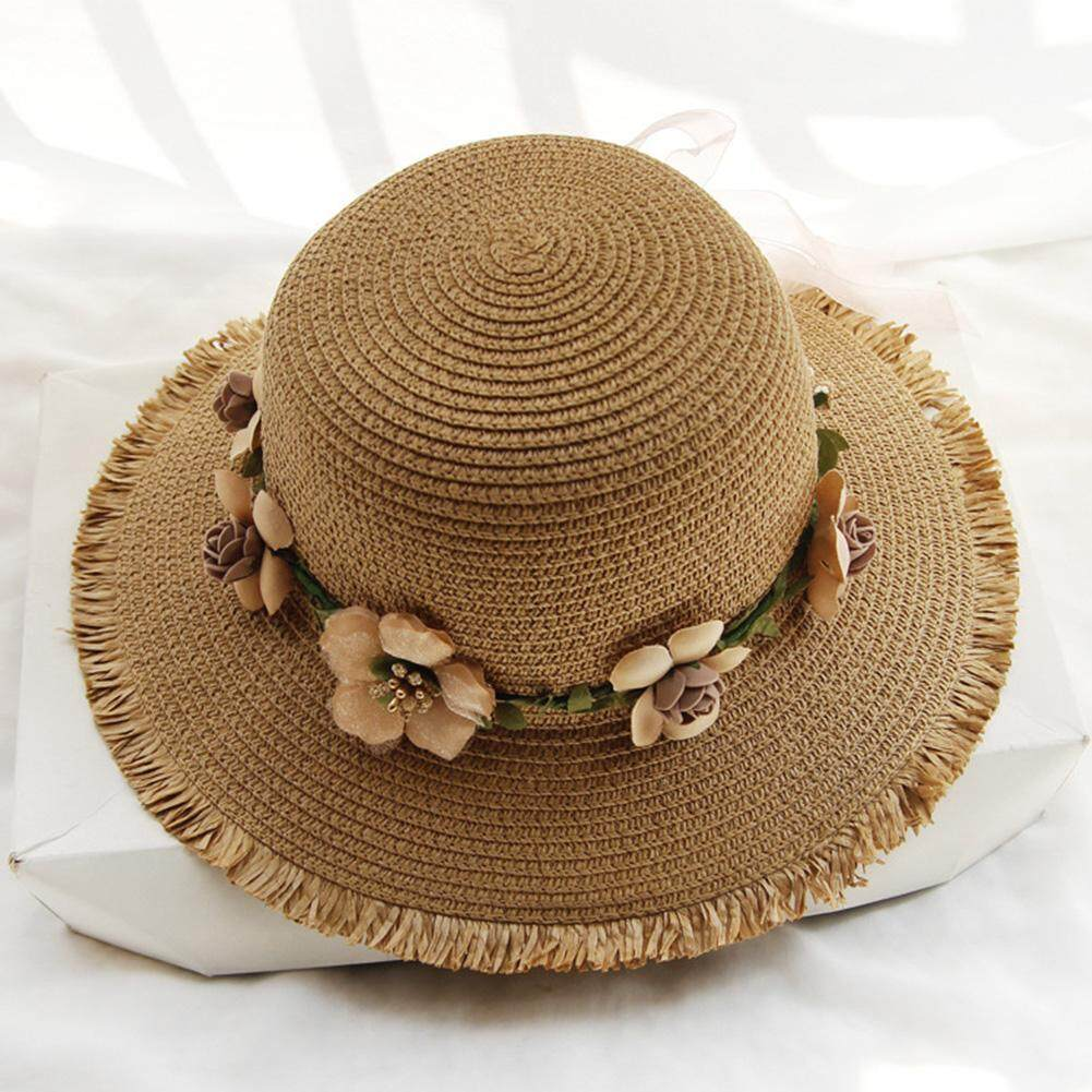 71c8a7b6d Travel Sunproof Beach Wide Brim Water-Sprinkling Festival Warp Knitting  Flower Embellish Foldable Straw Hat