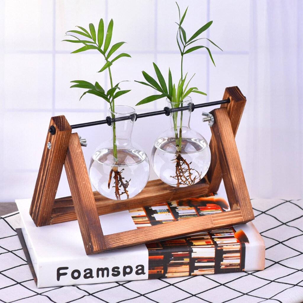 Hydroponic Plant Vases Glass Vase Planter Terrarium Table Desktop Bonsai Flower Pot Hanging Pots With Wooden Tray Home Decor Lazada Ph
