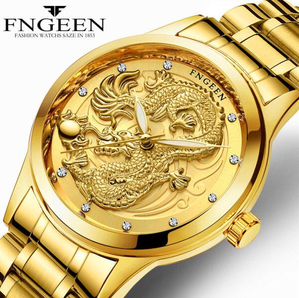 FNGEEN Mens Gold Dragon Watches Genuine Waterproof Stainless Steel Analog Quartz Wrist Watches For Men Top Brand Luxury Watch Jam Tangan Lelaki Malaysia