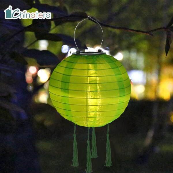 [Chinatera] Đèn Lồng LED Tua Rua Năng Lượng Mặt Trời 8Inch Đèn Lễ Hội Trung Quốc Màu Trơn Đèn Chùm Treo Không Thấm Nước Chiếu Sáng Cảnh Quan Trang Trí Sân Vườn Ngoài Trời Sân Nhà