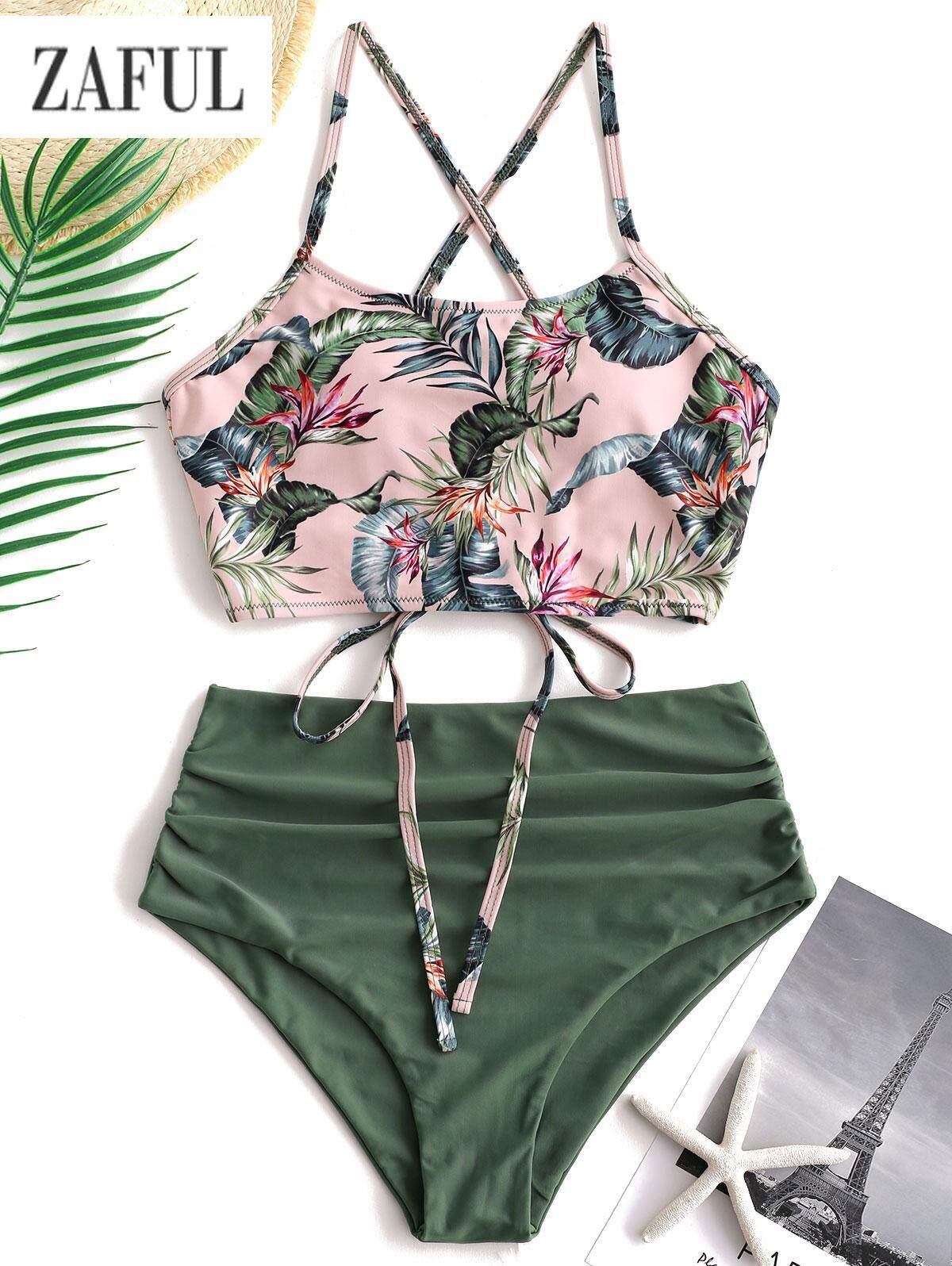 660e0c0bba ZAFUL Palm Floral Lace Up Blouson Padded Tankini Set Two Pieces Swimsuit  for women on saleHigh