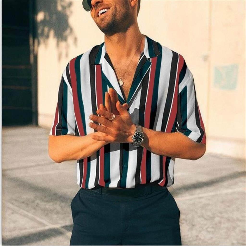 c304a7c6d0 Rainny Men Summer Fashion Shirts Casual Striped Shirts for men Short-Sleeve  Top Blouse