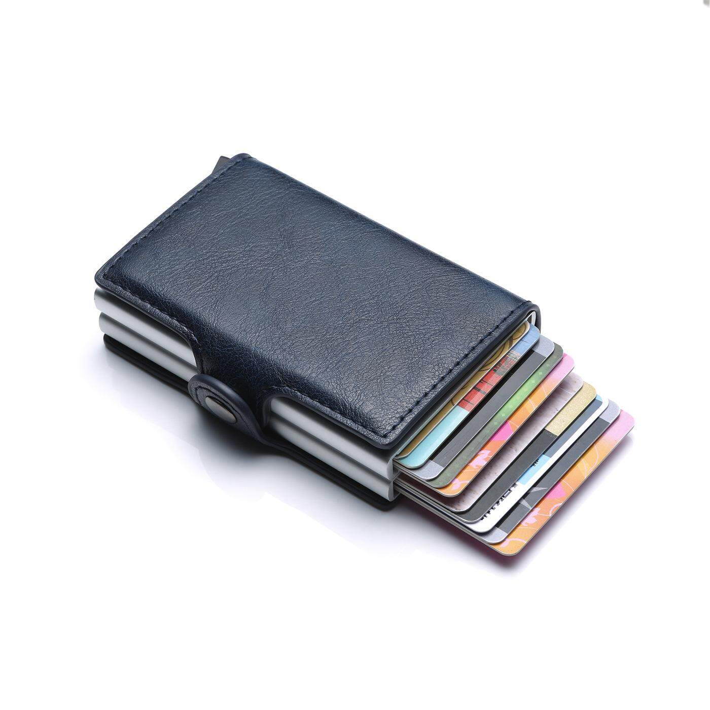 7778c23cd94a 2019 PU Leather RFID Blocking Aluminum Credit Card Holder Money Clip  Automatic Pop Up Slide Out Front Pocket Wallet Double Aluminum Card Wallets  Black