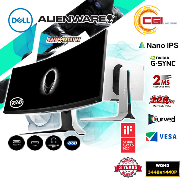 AlienWare 34.1 AW3420DW IPS 2ms 120Hz WQHD G-SYNC Curved Gaming Monitor Malaysia