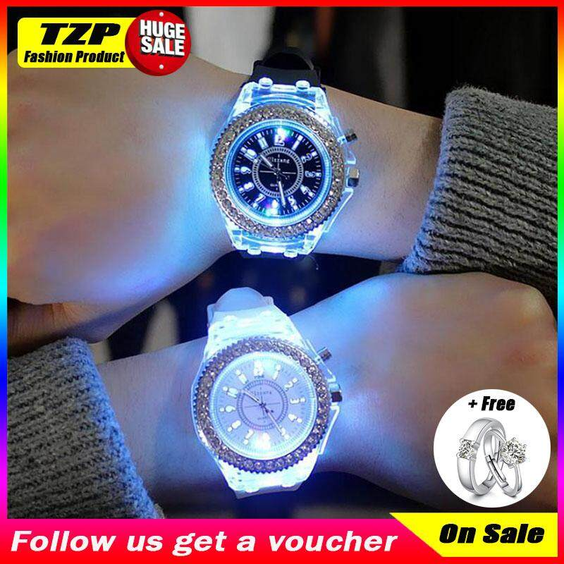 [Buy 1 Take 1] 1 Pair PoRuis Hot Sale Geneva Luminous Diamond LED Silicone Quartz Big Dial Watch Women Fashion Watches Jam Tangan Fashion Wanita Malaysia