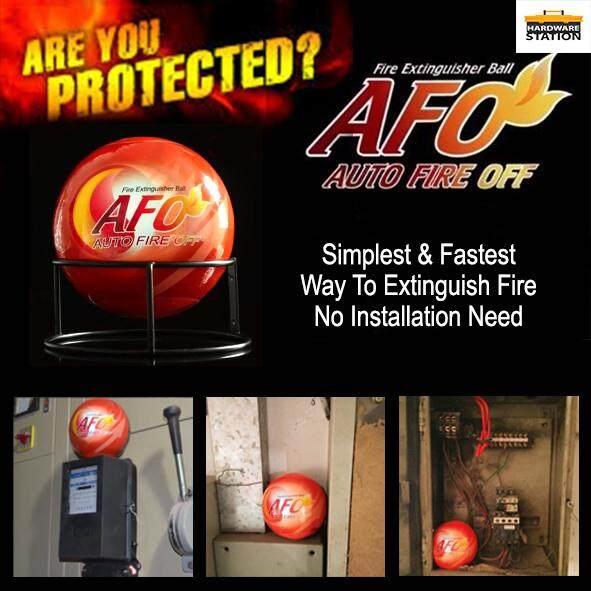 HARDWARESTATION - AFO Automatic Fire Ball, ABC Fire Extinguisher, Fire Suppression Device, Fire Safety Product with Sign (IS 1.5KG NOT 0.5KG)