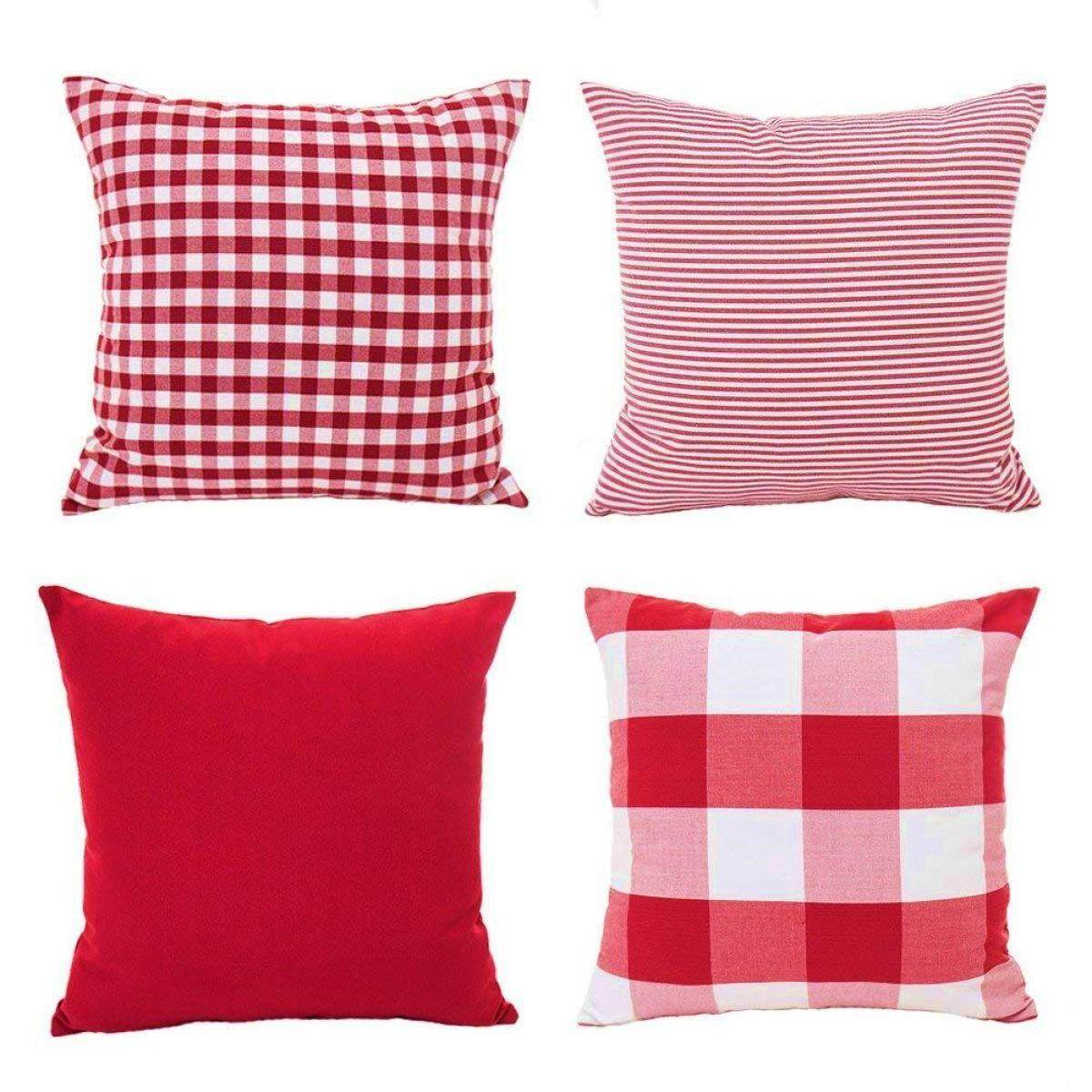 Christmas Red White Throw Pillow Case Cushion Cover Holiday Decor for Sofa Set of 4(Checkered Plaid, Stripe, Lattice) Free Shipping
