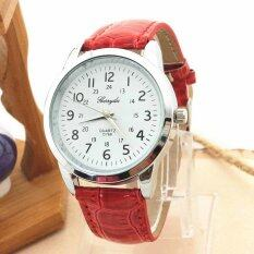 Elegant Analog Luxury Sports Leather Strap Quartz Mens Wrist Watch Red By Latop.