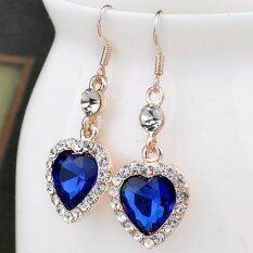 Elegant Love Forever Women Crystal Rhinestone Blue Heart Drop Dangle Crystal Earrings By Sunshine Mall.