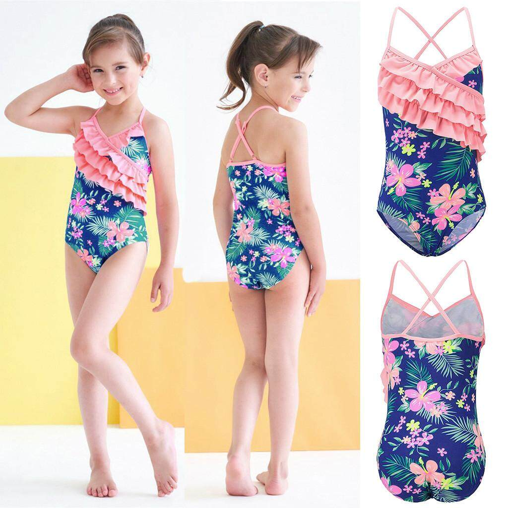 ab23c2b279d Rayeshop Summer Kids Baby Girls Ruffles Floral Print Swimwear Swimsuit  Romper Jumpsuit【Reference size chart