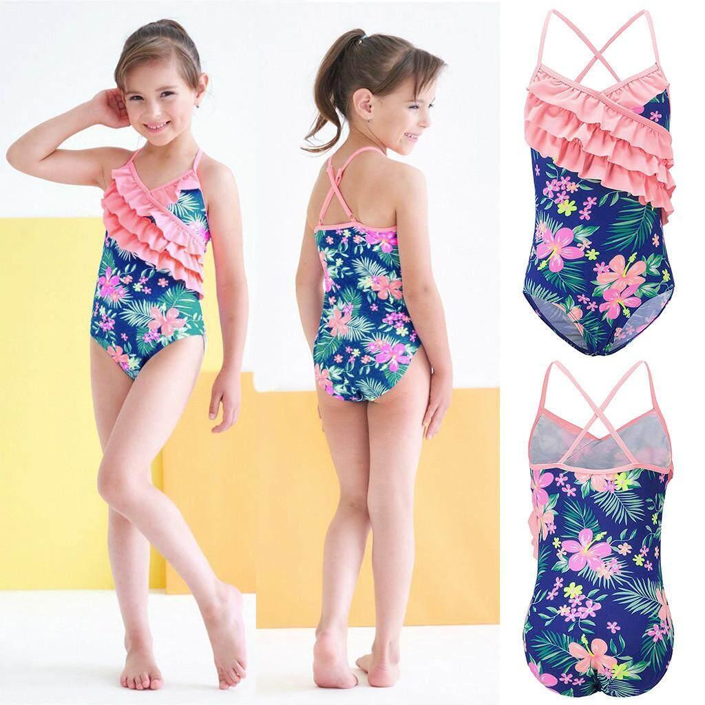 Warmihome Summer Kids Baby Girls Ruffles Floral Print Swimwear Swimsuit Romper Jumpsuit By Warmihome.