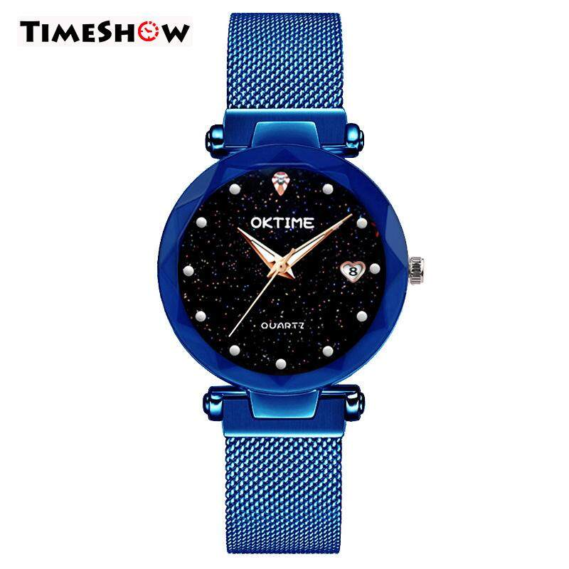 3dce5a0f6 TimeShow Women Quartz Watch Starry Round Dial Wrist Watches with Magnetic  Strap for Business Travel
