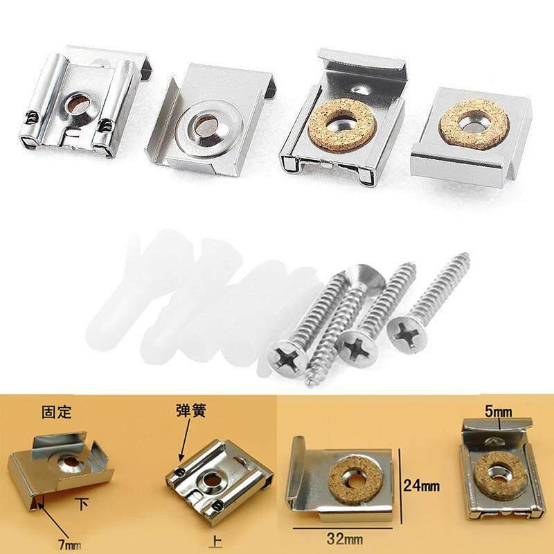 BOKALI 4pcs 32mm Adjustable Spring Loaded Mirror Hanging Clip Wall Bracket Set U1Z7P