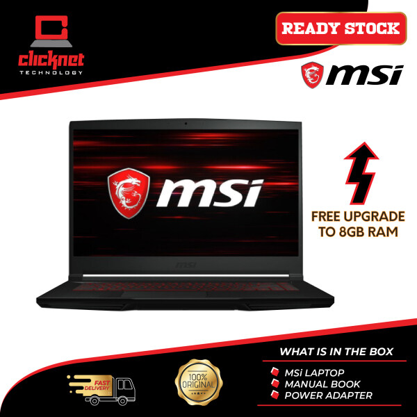 MSI THIN GF63 9SCSR-888 15.6 FHD IPS Gaming Laptop Black ( I5-9300H, 8GB, 512GB SSD, GTX 1650Ti 4GB Max-Q, W10 ) Malaysia