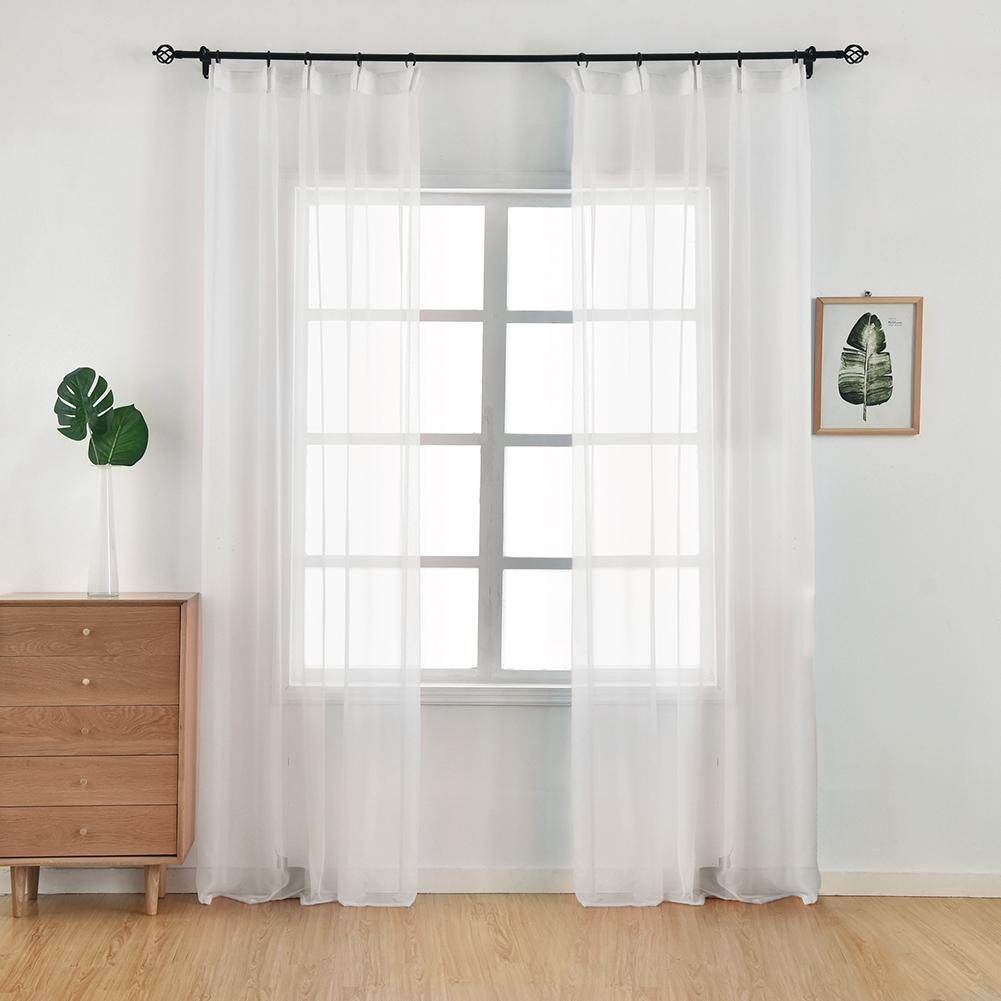 1PCS 300x260cm Sheer Organza Curtains for living room hook tape Solid color