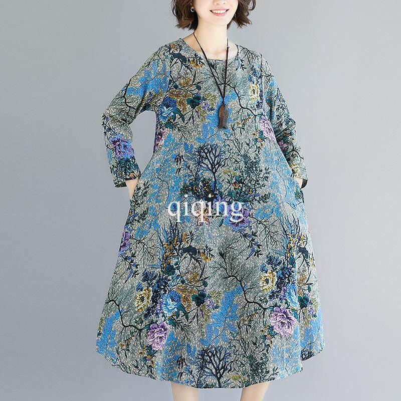 Qiqing Ukuran Besar Perempuan Longgar Kapas dan Linen Gaun Panjang CetakIDR241000