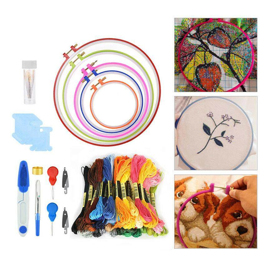 Full Range of Embroidery Starter Kit Cross Stitch Tool Set Includes Embroidery Hoops 50 Colors Lines
