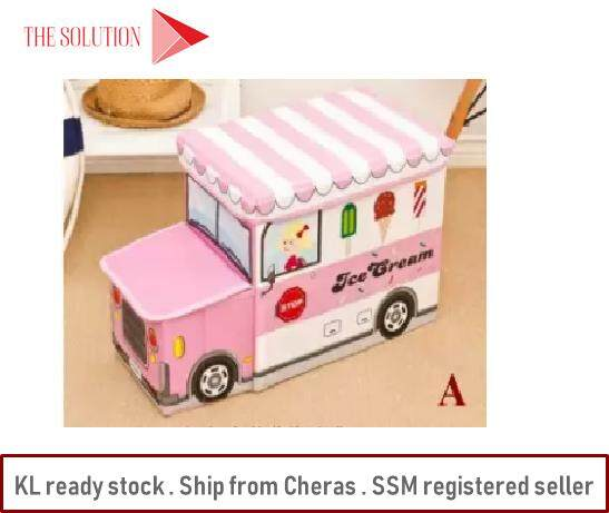 [ready Stock] Foldable Kid Vehicle Bus Toy Storage Box Organizer By Lv Solution.