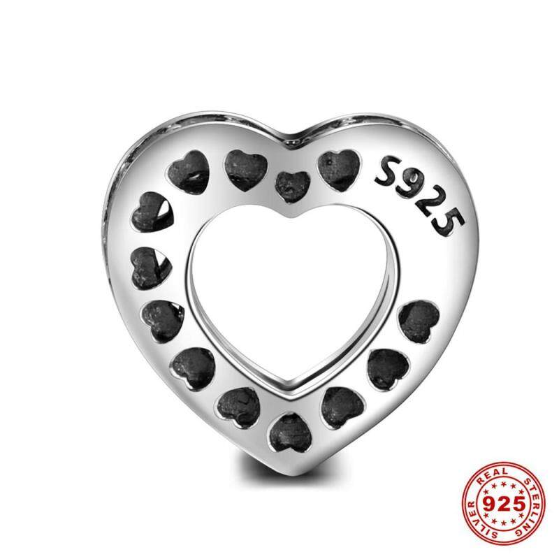 S925 heart-shaped pure silver series interval beads are bangles & necklaces
