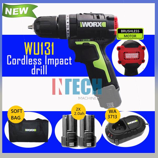 WORX WU131 CORDLESS IMPACT DRILL BRUSHLESS MOTOR C/W 2 NOS 2.0AH BATTERY + 1x CHARGER WA3713