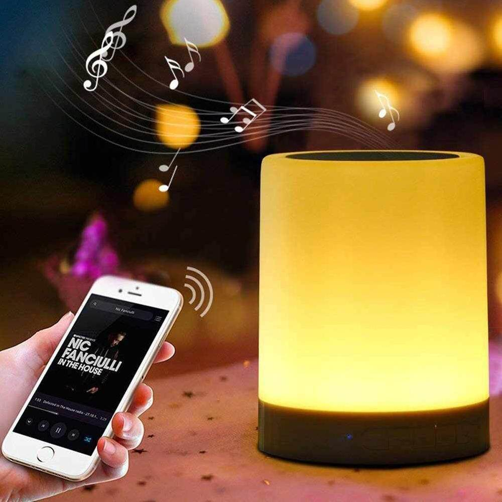 jomoo store Hot Dimmable Smart LED Desk Lamp Blue Tooth Music Player Touch Dimmer Bedroom Living Room Alam Speaker BT Night Light Singapore