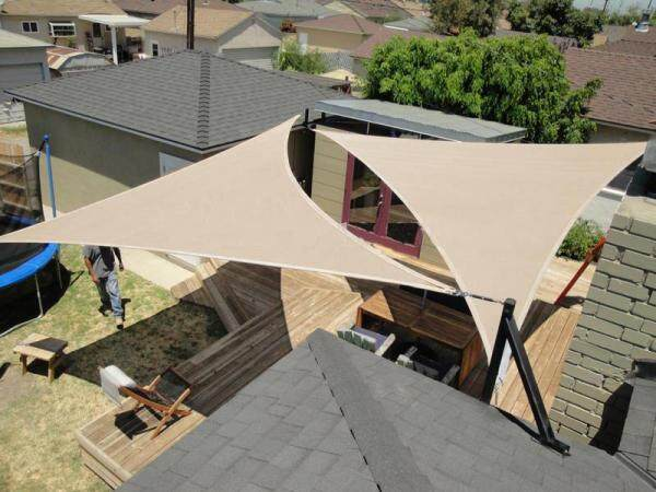 Triangle Sunshade Sail Canopy Khaki Color Many Sizes Waterproof Oxford Fabric 90% UV Blocking Outdoor Garden Sun Shelter Protection