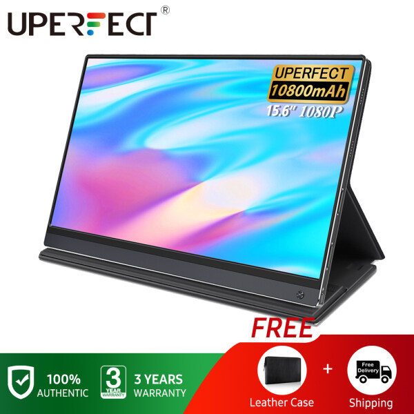 """UPERFECT 15.6"""" Battery Monitor  LCD USB Type C HDMI  upgrade IPS HDR 1920X1080 FHD gaming monitor Eye Care Screen  with 10800mAh Battery HD display for PS4 Laptop Phone Xbox Switch Pc including protective cover"""