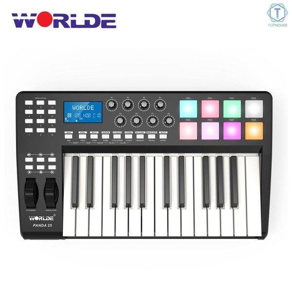 ∮ WORLDE PANDA25 Compact 25-Key USB MIDI Keyboard Controller 8 RGB Colorful Backlit Trigger Pads with USB Cable Malaysia