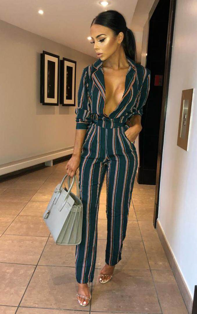 cb9921773de3 Missufe Lace Up Overalls Female Rompers Slim Playsuit Long Sleeve Bodysuits  For Women Notched Striped Women