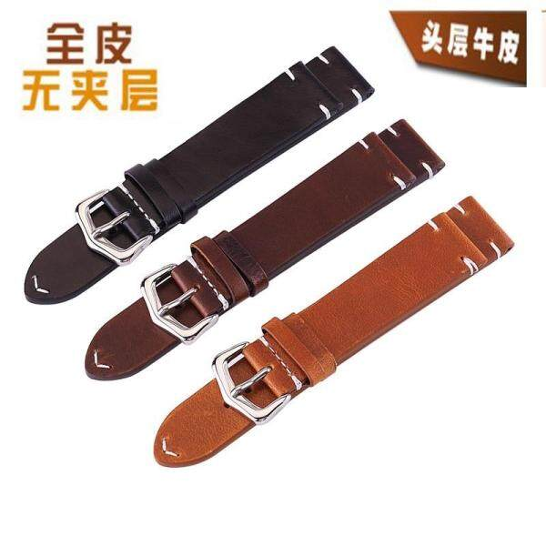 18/19/20/21/22/24 mm Width Size Genuine Leather Retro Oil Wax Mens Watchband Business Wristwatch Strap Accessories Replacement Bands Malaysia