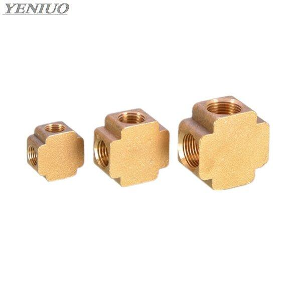 square script 4 Ways Brass Pipe fittings Equal Female Connector 1/8 1/4 3/8 BSP Thread For Grease System hydraulic system X
