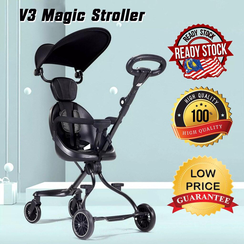 Bundle Joy - [V3 INCLUDE CANOPY] Premium Adjustable Children Baby Dual Way Seat Stroller 4 Wheels Steady Ride On Walker