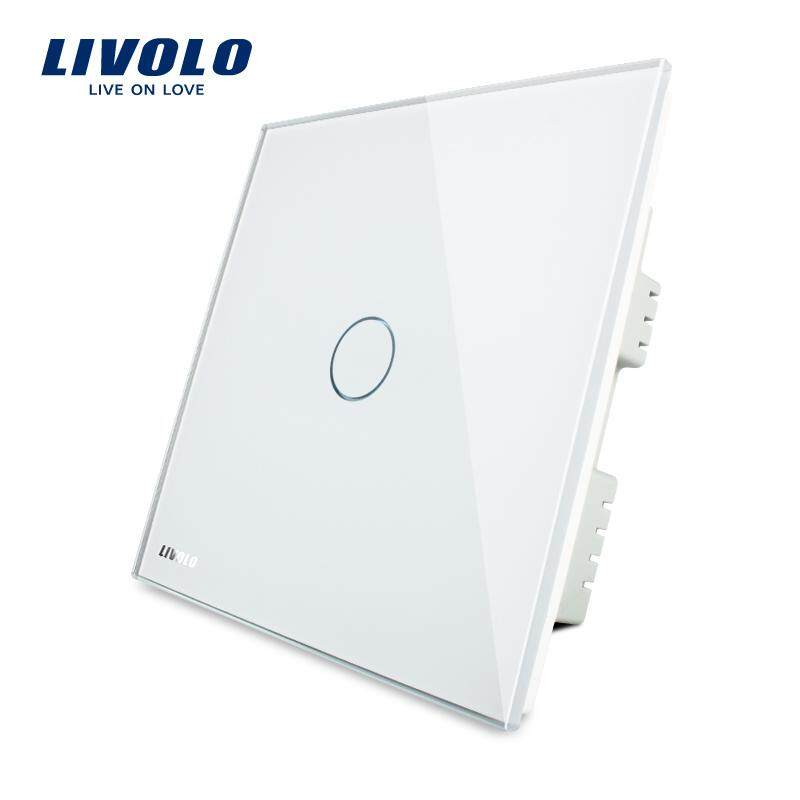 LIVOLO UK Standard luxury glass panel light switch, touch wall switch, AC 220-250V ,3 color