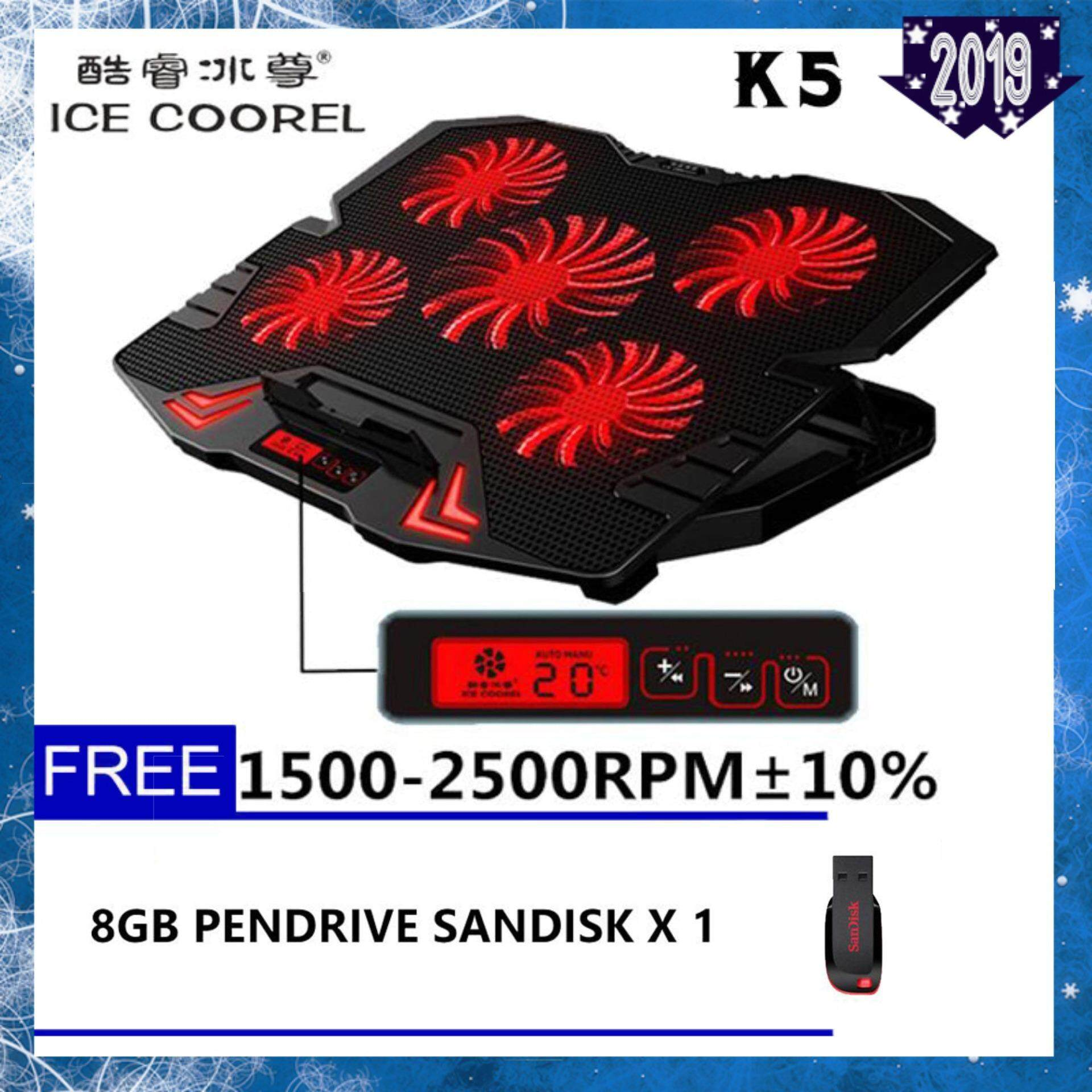 ICE COOREL K5 Super Mute 5 Fans Ice Cooling Technology Red Ligthing Cooler Pad with Rack Stand and Built-in LCD Display 5 Speed control of Fans for Laptop- Premium Malaysia