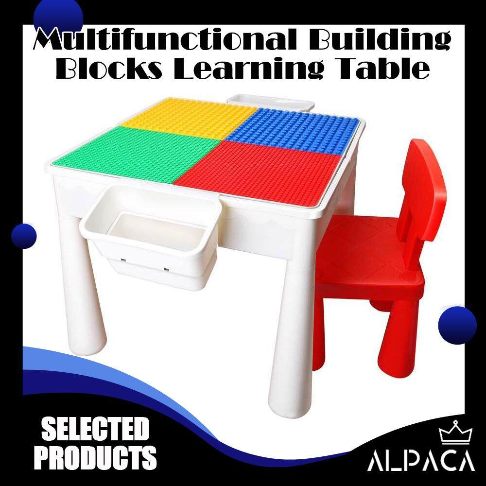 ALPACA Multifunctional PP Plastic Children Desk Building Blocks Assembled Learning Table And Chair With Storage Box Panel EVA Non-Slip Mat Waterproof Plug Increase Leg Study Tables For Kids Playing Bricks Toys Educational Enlighten Stable Furniture Sets