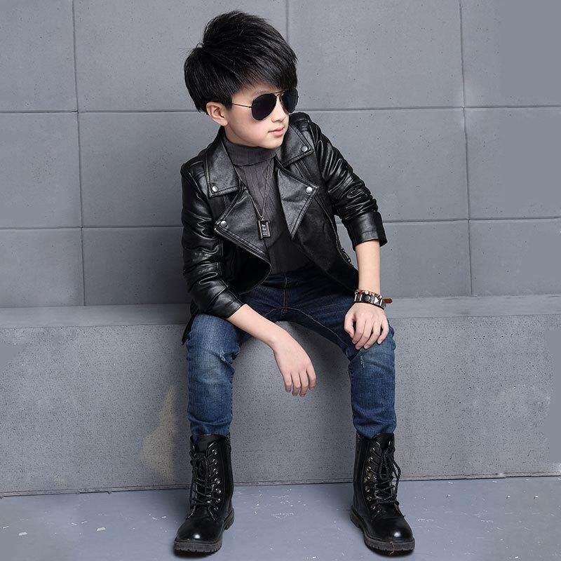 6feda1a83b63 New Fashion Spring Girls Boys Leather Jacket Coat Autumn Fashion Kids Solid  Full Sleeve Outerwear Jacket