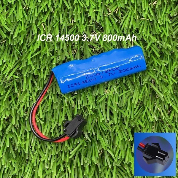 Doublepow ICR 14500 800mAh 3.7V Li-ion Battery with Protection Board Wire Plug (SMP)