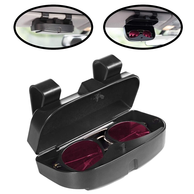 Car Sun Visor Sunglasses Case Holder Eye Glasses Organizer Box Credit Card Slots on the Outside Double Snap Clip Design Fits All Vehicle Models,Easy Installation