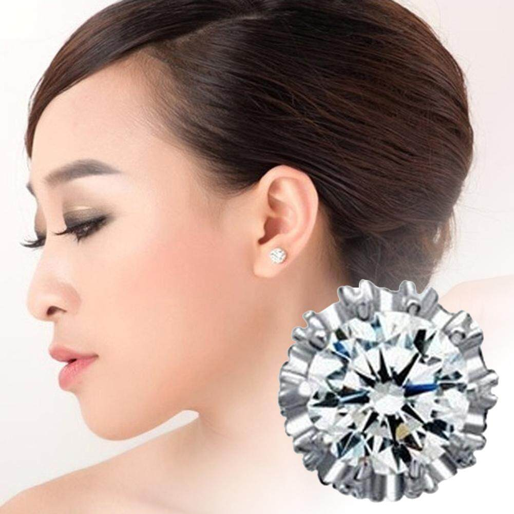 Bluelans®fashion Wanita Zirconia Kubus Bulat Ukir Mahkota Telinga Anting Stud Perhiasan Hadiah By Bluelans.