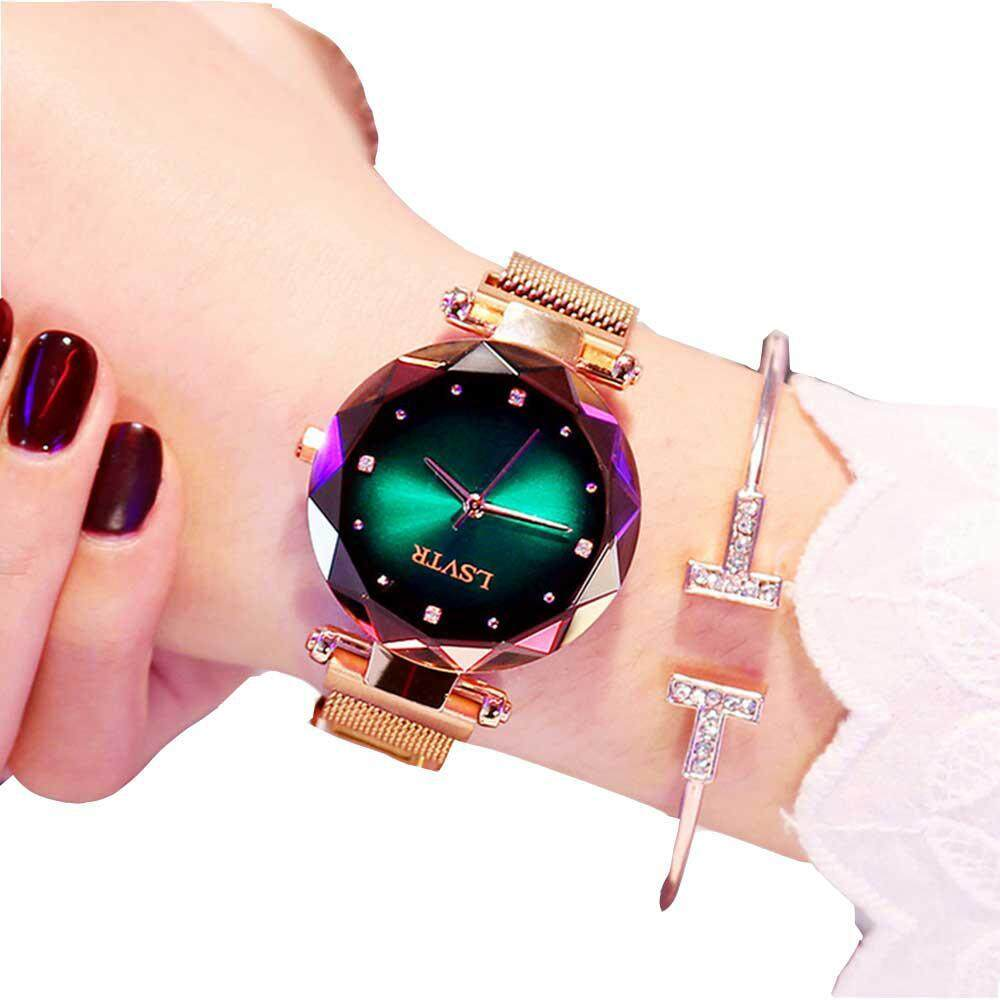 OrzBuy Fashion Women Quartz Wrist Wrist Watches, Magnetic Stainless Steel Mesh Band Starry Sky Dial Quartz Watches Gift for Friend/Mother and Wife Malaysia