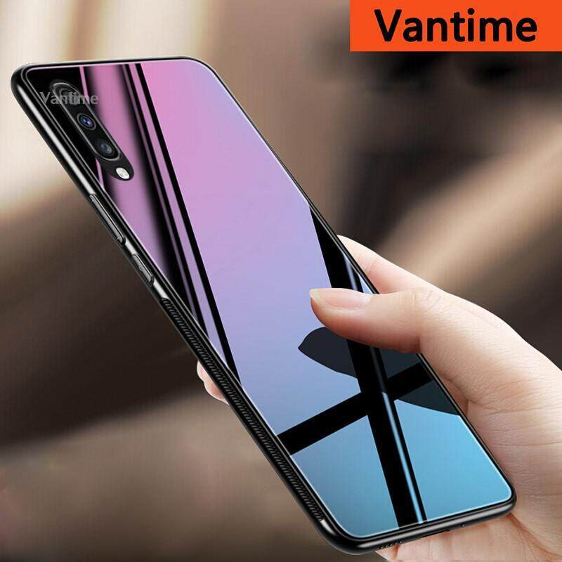 Giá Vantime For Samsung Galaxy A70 Hard Case Tempered Glass TPU Mirror Hybrid Shockproof Full Body Protective Cover