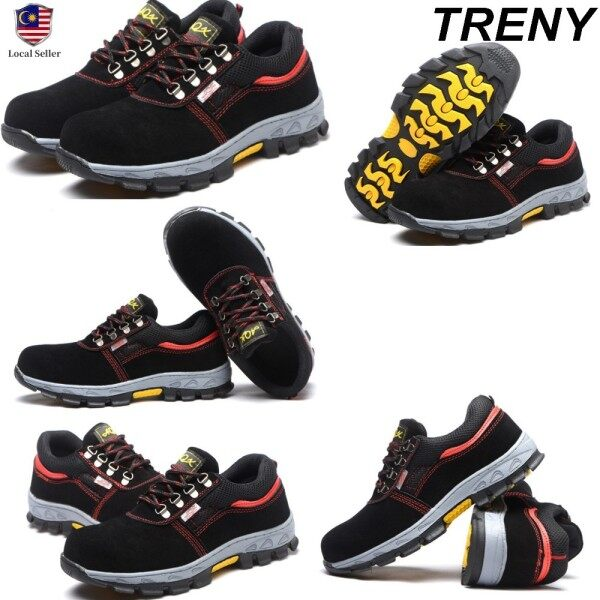 TRENY 8106 Safety Shoes Anti Slip Anti Smash Protective Steel Toe Cap Boots Men Shoes Kasut Lelaki Kasut Kerja