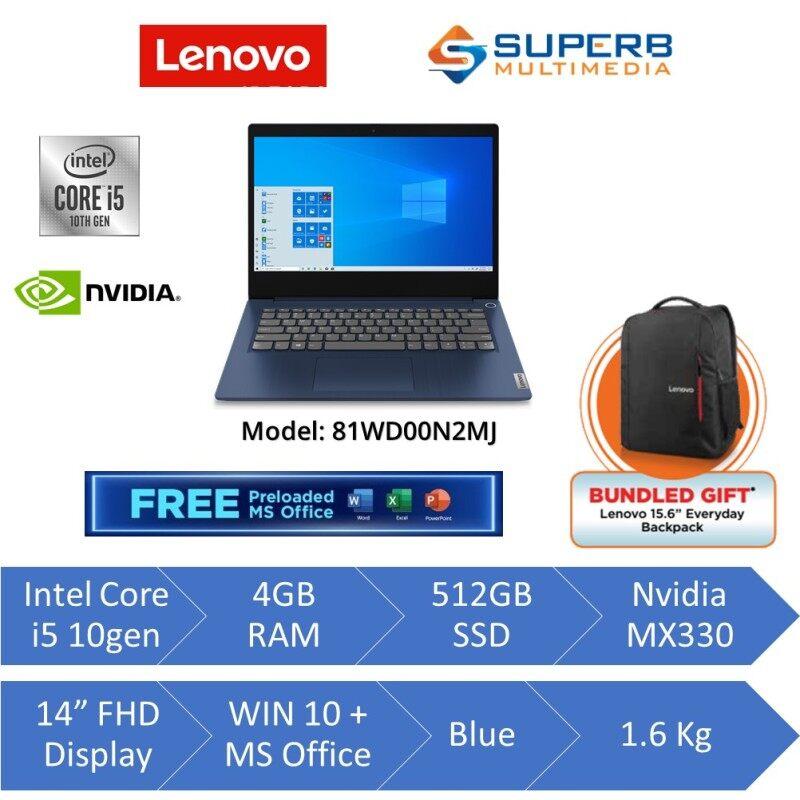 Lenovo IP3 81WD00N2MJ Laptop (Intel core i5, 4gb ram, 512gb ssd, Nvidia MX330, 14 FHD, Win10, OPI, Blue) Malaysia