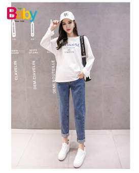 Babytree Maternity ด้านล่างกางเกงคุณแม่สวมใส่กางเกงผู้หญิงผ้าคอตตอนสไตล์เกาหลีกางเกงยีนส์ตั้งครรภ์ฤดูร้อน HY8809 HYPANT-