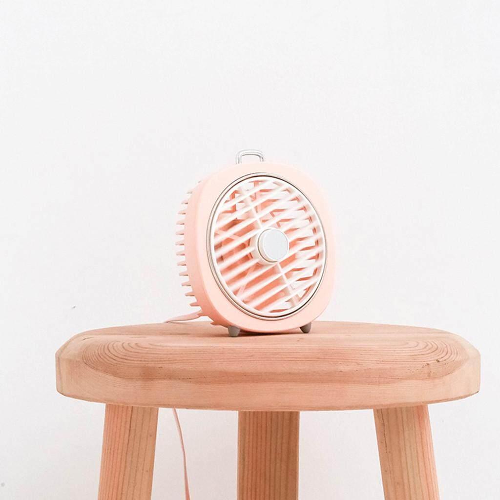 Quạt Xoay Mini Để Bàn, LED Ánh Sáng Ban Đêm, USB Có Thể Sạc Lại Gió 3 Tốc Độ Im Lặng