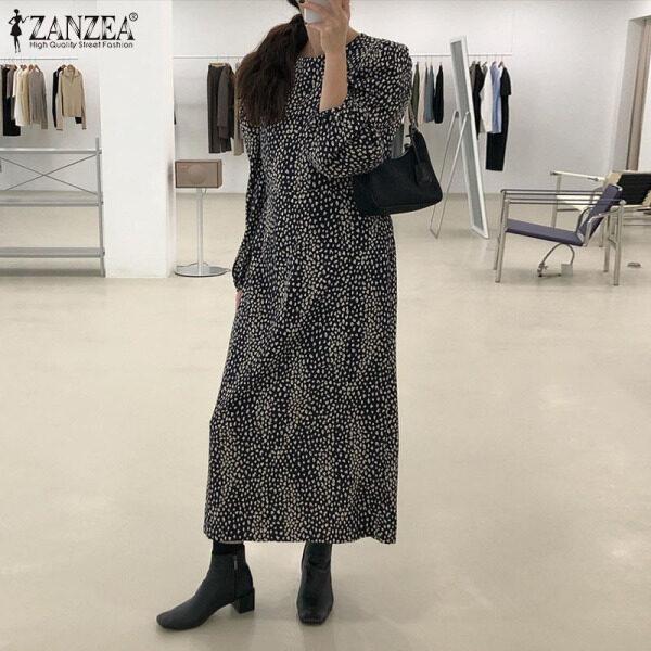 ZANZEA Áo Sơ Mi Dài Thường Ngày Cho Nữ Phong Cách Hàn Quốc Ăn Mặc Đầm Maxi In Chấm Bi Tay Phồng